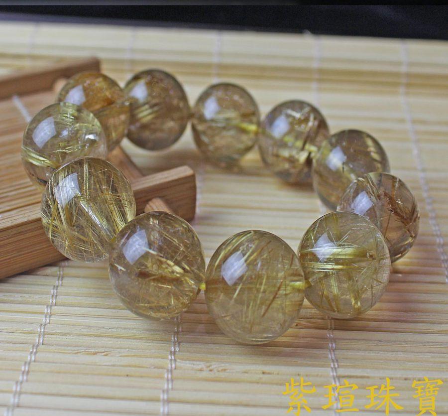 天然髮(鈦)晶手鍊正財偏財20mm - 紫 瑄 珠 寶